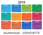 colorful calendar 2019. week... | Shutterstock . vector #1354218773
