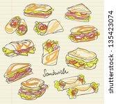 vector sandwich doodle | Shutterstock .eps vector #135423074