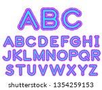 neon alphabet  bright font.... | Shutterstock .eps vector #1354259153