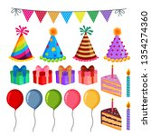 birthday party element set... | Shutterstock .eps vector #1354274360
