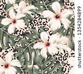 tropical hibiscus flowers ... | Shutterstock .eps vector #1354284899