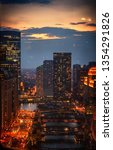 sunset in chicago | Shutterstock . vector #1354291826