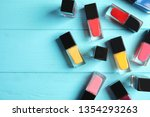 bottles of nail polish on color ... | Shutterstock . vector #1354293263