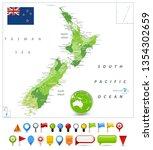 new zealand map spot green...   Shutterstock .eps vector #1354302659