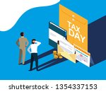 businessmen in tax day with... | Shutterstock .eps vector #1354337153