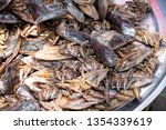 Lethocerus, Pimpa, Giant water bug as food in the local market Thailand.