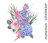 watercolor vintage floral... | Shutterstock . vector #1354346369
