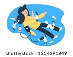 flat young woman patient with... | Shutterstock .eps vector #1354391849
