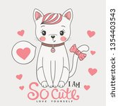 cute cat with pink heart. i am...   Shutterstock .eps vector #1354403543