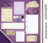 scrapbooking set  torn papers ... | Shutterstock .eps vector #135443690