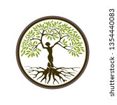 abstract tree human logo with... | Shutterstock .eps vector #1354440083