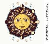 medieval sun tattoo art. moon... | Shutterstock .eps vector #1354450199