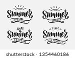 set handwritten brush lettering ... | Shutterstock .eps vector #1354460186