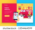 online delivery service landing ... | Shutterstock .eps vector #1354464599