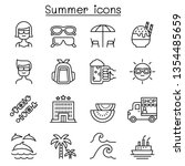 summer icon set in thin line... | Shutterstock .eps vector #1354485659