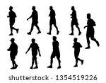 silhouette group set man run... | Shutterstock . vector #1354519226