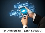 female hand using smartphone... | Shutterstock . vector #1354534010
