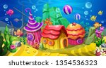 underwater town with colorful... | Shutterstock .eps vector #1354536323