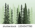 Stock vector vector forest background green spring or summer woods nature landscape with evergreen coniferous 1354547780