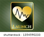 gold shiny badge with heart... | Shutterstock .eps vector #1354590233