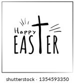 lettering  text happy easter... | Shutterstock .eps vector #1354593350