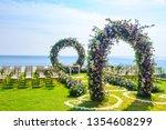 wedding ceremony. arch ... | Shutterstock . vector #1354608299