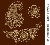 set of mehndi flower pattern... | Shutterstock .eps vector #1354649933