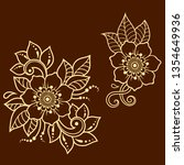 set of mehndi flower pattern... | Shutterstock .eps vector #1354649936