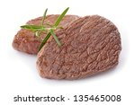 beef steak on white background   Shutterstock . vector #135465008