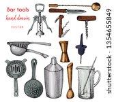 bartender equipment for making... | Shutterstock .eps vector #1354655849