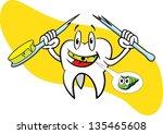 tooth with broken toothbrush | Shutterstock .eps vector #135465608