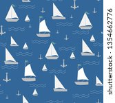 seamless pattern with sailing... | Shutterstock .eps vector #1354662776
