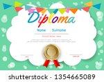 certificates kindergarten and... | Shutterstock .eps vector #1354665089