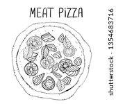 meat pizza. illustration of... | Shutterstock .eps vector #1354683716