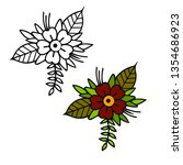 flower tattoo sketch examples | Shutterstock .eps vector #1354686923