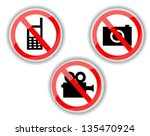 red and white prohibiting signs ...