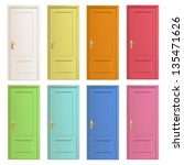 collection of colorful doors.... | Shutterstock .eps vector #135471626