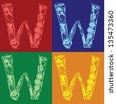 set of floral alphabet letter w ...   Shutterstock .eps vector #135473360