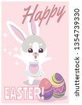 easter card. cute baby rabbit... | Shutterstock .eps vector #1354739330