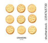 Small photo of Seamless pattern with crackers. Abstract background. Cracker on the white background.