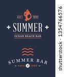 summer time beach logo vector... | Shutterstock .eps vector #1354766576