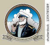 old grey captain smoking a pipe ... | Shutterstock .eps vector #1354785389