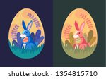 set of easter illustration with ... | Shutterstock .eps vector #1354815710