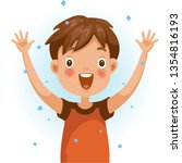 excitement boy. one person in... | Shutterstock .eps vector #1354816193