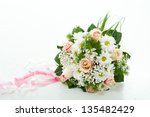 wedding rings in hand. newly... | Shutterstock . vector #135482429