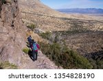 Sierra Vista/USA - 13 January 2013: Group of hikers going down on rocky hiking track