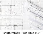 rolls of architectural... | Shutterstock . vector #1354835510