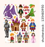 set of fairy tale element icons | Shutterstock .eps vector #135483950