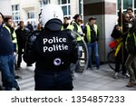 "Small photo of Brussels, Belgium. 31st March 2019.Protesters scuffle with police during a demonstration called ""Rise for Climate""."