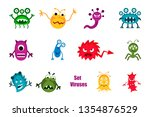 bacteria and germs colorful set ... | Shutterstock . vector #1354876529
